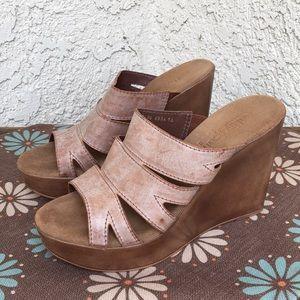 Cathy Jean Leather Wedge Platform Heels fit 9